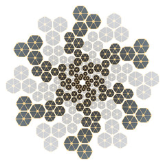 hexagonal snowflake in silver and gold