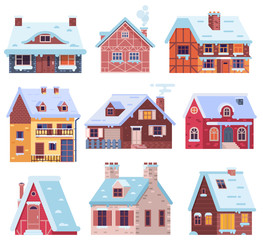 Winter houses collection. Cartoon snow home and rural cottages set. Including alpian chalet, mountain lodge, half-timbered house and other snowy buildings in flat design.