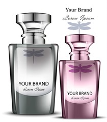 Men and women perfume bottle set. Realistic Vector Product packaging designs