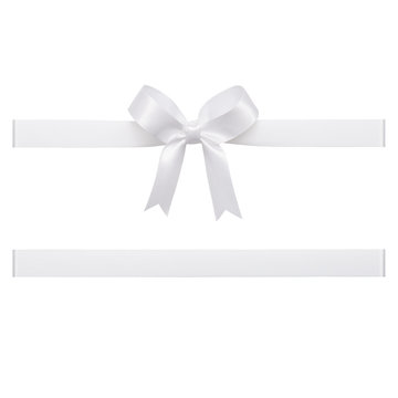 White bow tied using silk ribbon, cut out top view