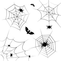 Halloween cobweb frame border and dividers isolated on white with spider web for spiderweb scary design.