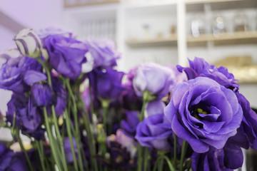 Beautiful fresh purple roses bouquet in vase