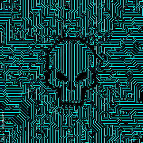 Circuit board skull / Vector illustration of abstract computer ...
