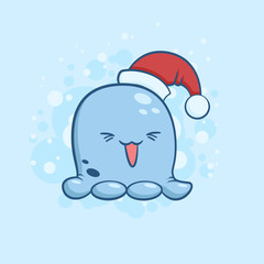 Vector color illustration of cute monster in santa claus hat on snowy background. Object image to create original web games, graphic design or Christmas card