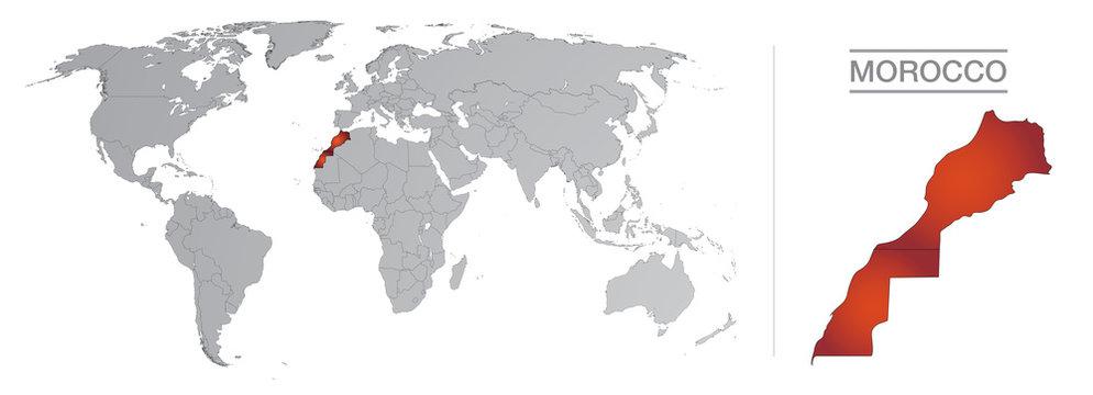 Maroc dans le monde, avec frontières et tous les pays du monde séparés
