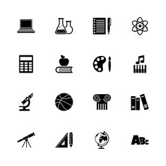 School Subject icons - Expand to any size - Change to any colour. Flat Vector Icons - Black Illustration on White Background.