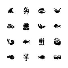 Sea Food icons - Expand to any size - Change to any colour. Flat Vector Icons - Black Illustration on White Background.