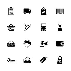 Shopping icons - Expand to any size - Change to any colour. Flat Vector Icons - Black Illustration on White Background.