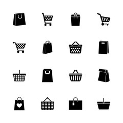 Shopping Bags icons - Expand to any size - Change to any colour. Flat Vector Icons - Black Illustration on White Background.