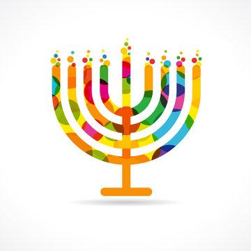 Hanukkah menorah emblem colored. Jewish holiday Hanukkah greeting card traditional Chanukah symbol menorah candles lowing lights pattern. Vector template