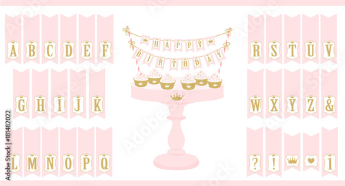 Vector Pink Cake Stand With Cupcakes Set Of Printable Letters Bunting Mini Flags