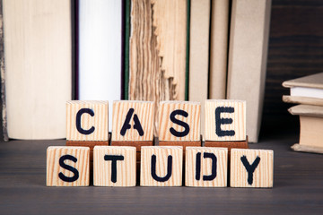 case study, wooden letters on wooden table. Education, success and communication background