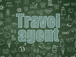 Tourism concept: Chalk Blue text Travel Agent on School board background with  Hand Drawn Vacation Icons, School Board