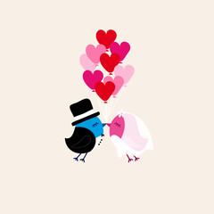 Birds Wedding Flying 9 Heart Balloons Beige