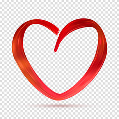 Symbol of Valentine's Day Isolated on Transparent Backdrop. Brush Stroke in the Form of Red Heart Drawn Acrylic Paint. Vector Illustration Template for Festive Card and Holiday Decorarion.