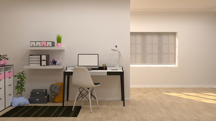 home office with,lamps sofa 3D illustration with white wall in the background