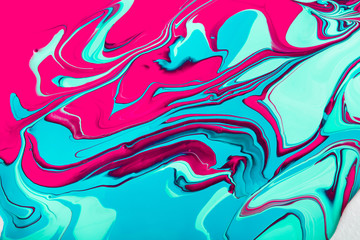 Liquid marbling acrylic paint background. Fluid painting abstrac