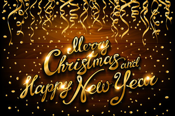 vector golden streamers and confetti on wooden holiday background with lettering Merry Christmas and Happy New Year, illustration.