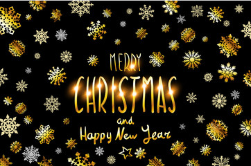 Merry Christmas and Happy New Year gold glittering lettering design. Vector illustration EPS 10