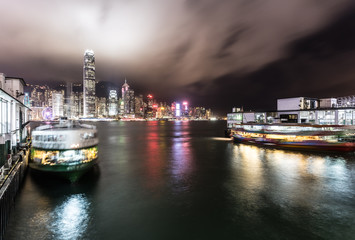Star ferry building in Hong Kong at night
