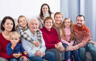 Family members making family photo