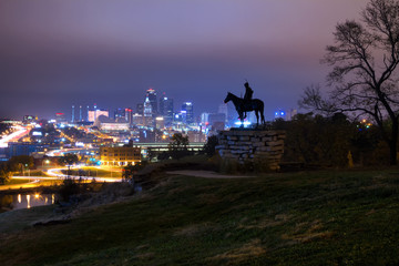 Kansas City at Night with Scout