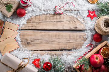 Christmas composition on a wooden table, Christmas frame, instagram