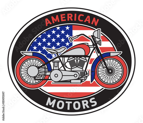 Quot Biker Motorcycle Label With Text American Motors Quot Stock