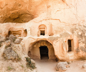 Cave town and rock formations in Zelve Valley, Cappadocia, Turkey