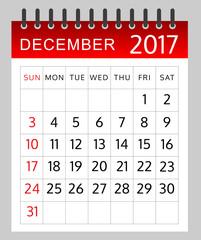Calendar of December2017 -  illustration - Vector EPS 10