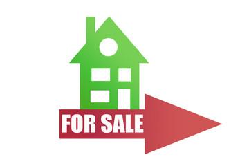 Casa verde con flecha en venta.