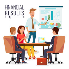 Business Meeting Vector. Teamwork. Brainstorming Or Presentation Of The Project. People Working. Man Speaks Before His Colleagues. Conference Desk. Flat Cartoon Isolated Illustration