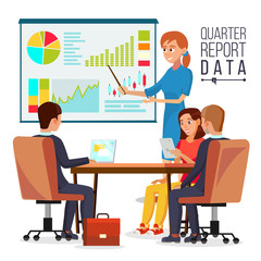 Corporate Business Meeting Vector. Woman Manager Explaining Quarter Report Data. Teamwork. Chatting In Conference Room. Projecting Screen. Flat Cartoon