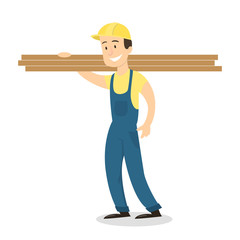 Worker with wooden planks.