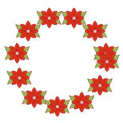 christmas wreath poinsettia and leaves plant celebration