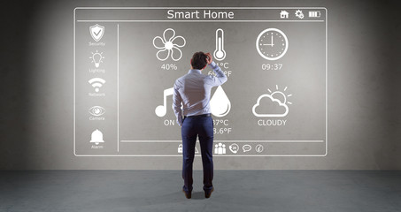 Businessman using smarthome interface on a wall 3D rendering