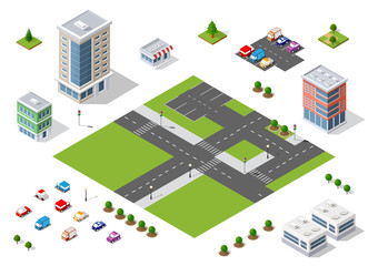 Set of town district of the city in isometric landscape urban infrastructure of houses, streets and buildings