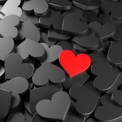 Black and red hearts background. Concept for Valentine's Day, Women's Day, and others. 3D Rendering.