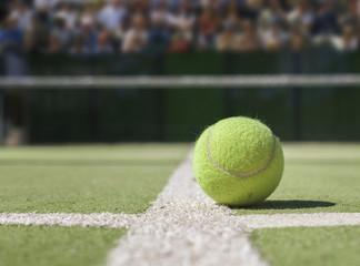 Tennis ball on a tennis court. close up