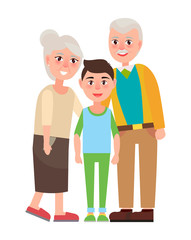 Grandparents with Grandson Isolated Characters
