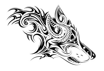Elegant tattoo of the wolf