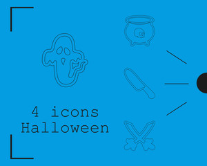 Collection of 4 halloween icons. Vector illustration in thin line style