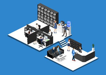 Isometric 3D illustration set Interior of department office with workplaces