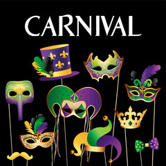 Banner Template with Golden Carnival Masks on Black Background. Glittering Celebration Festive Border. Vector Illustration.