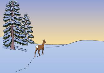 winterlandschaft mit reh und tannen