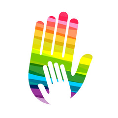 Helping hand concept made in colorful design as diversity concept