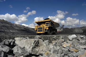 heavy truck in a coal mine