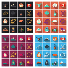 Set of winter icons different objects sport equipments and animals