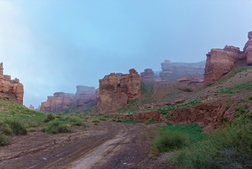 Charyn Canyon in the morning fog, Charyn Canyon in Kazakhstan. The Valley of Castles.