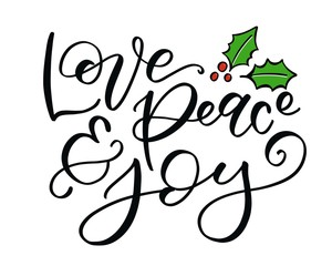 Love Peace and Joy Calligraphy